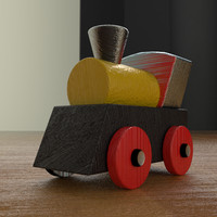 train toy wooden 3d 3ds