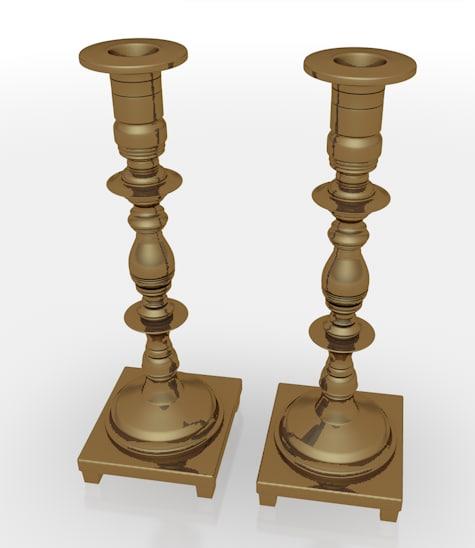 3d candle sticks model