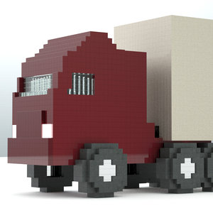 pixel truck voxels 3d model