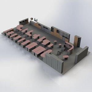 3d model set office furniture