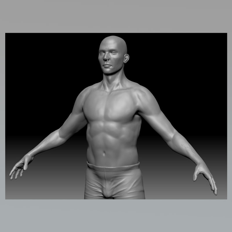 male body modeled 3d ma