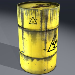 3d industrial barrel radioactive