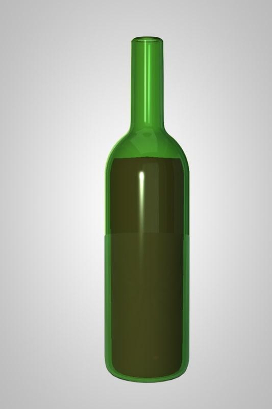 free wine bottle 3d model