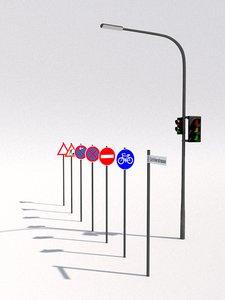 traffic signs 3d c4d