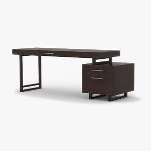 desk walnut wood 3d model
