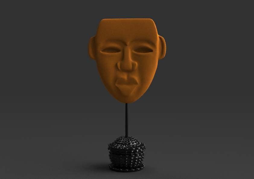 modern african mask c4d