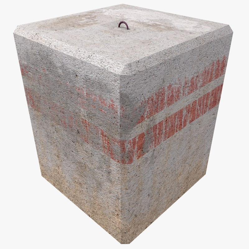 3d square concrete block