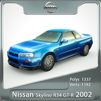 3d nissan gt-r skyline r34 model