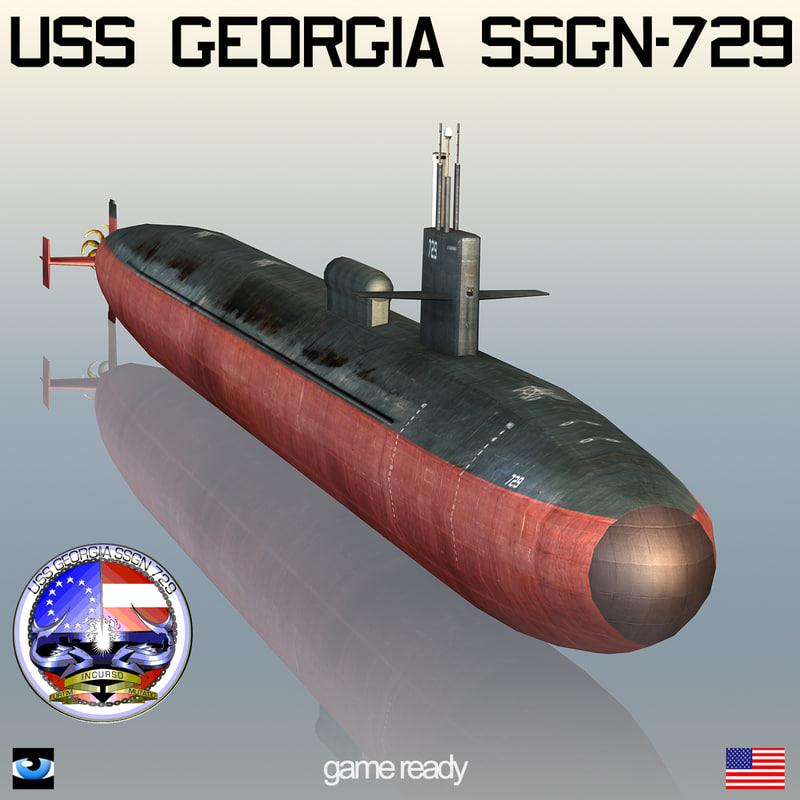 s submarine georgia ssgn-729 3d max