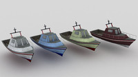3ds max fisher boat low-poly
