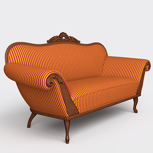 classic-style carved sofa 3d lwo