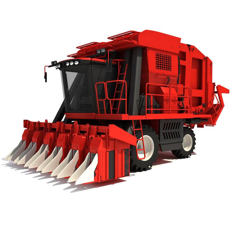 cotton picker harvester 3d lwo