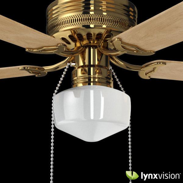 brass decorative ceiling fan c4d