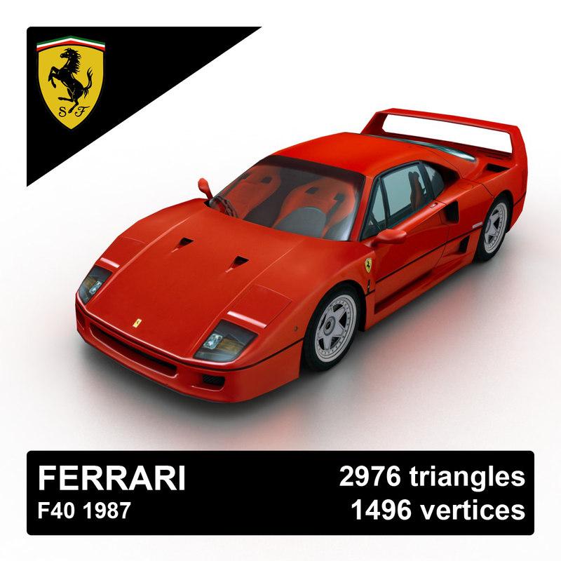 3d 1987 ferrari f40 model