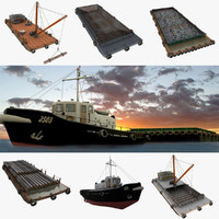 Floating Barges and Tugboat Collection