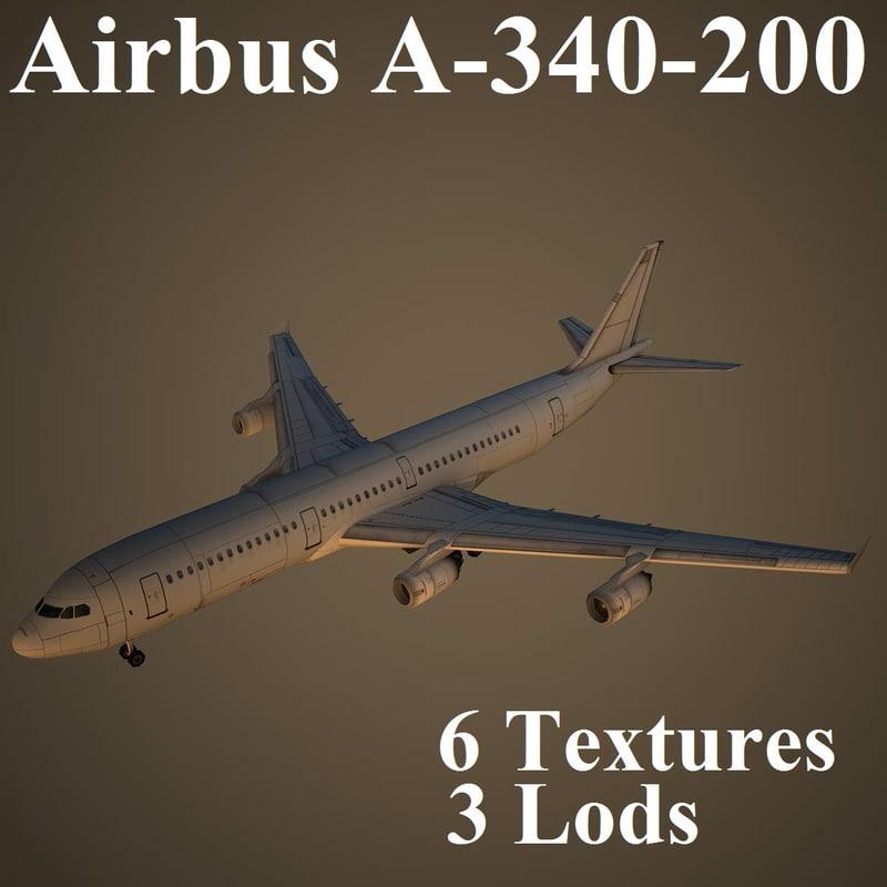 airbus a-340-200 air 3d model