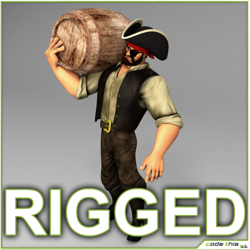 male pirate cartoon 3d model