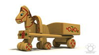 The Toy of Wooden Horse With Trailer