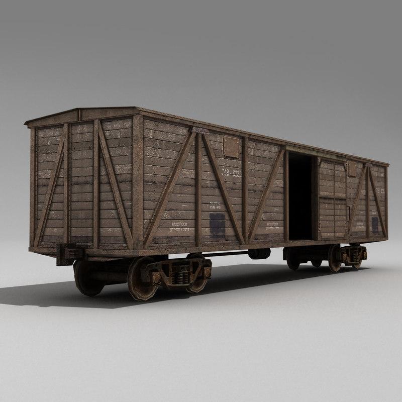 3d model boxcar wagon railway