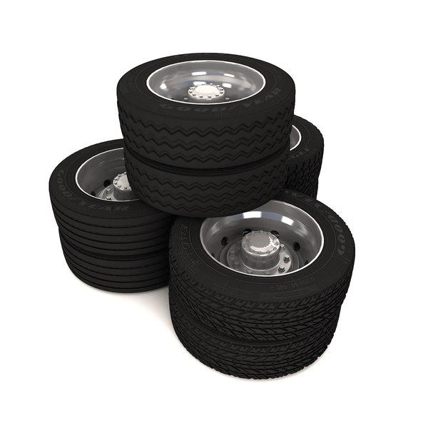 truck wheels 3d obj