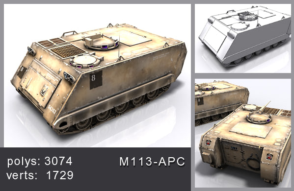 3d model tank m113-apc