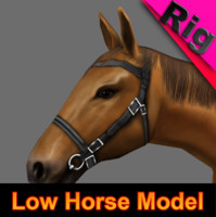 horse tawny rigged 3d model