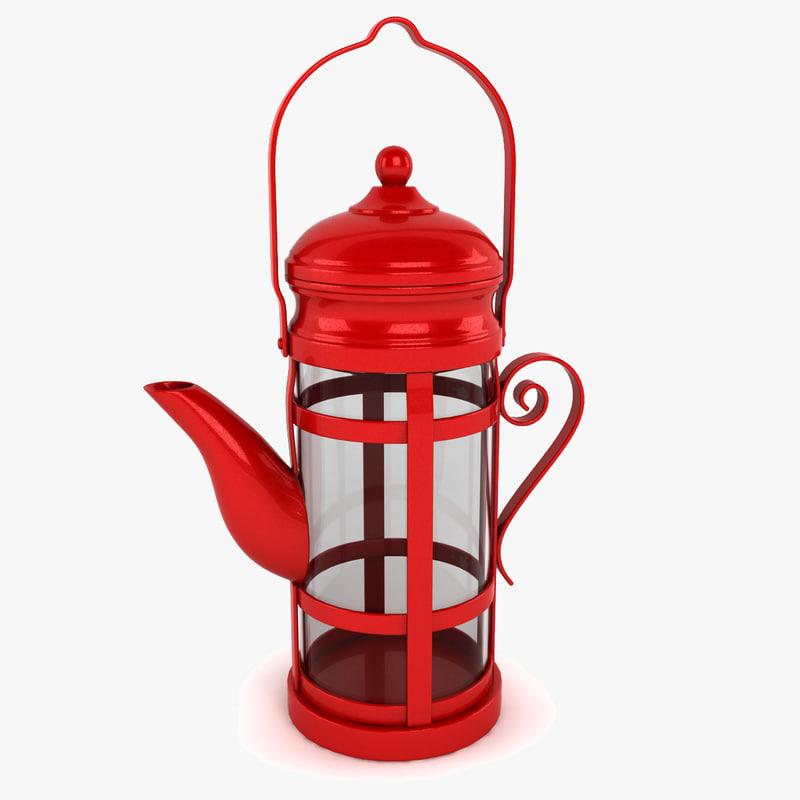 3d red teapot tea model