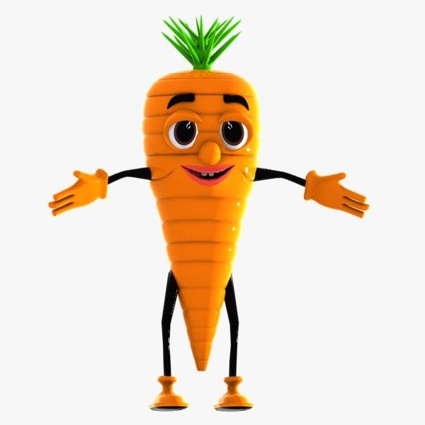 3d carrot character model