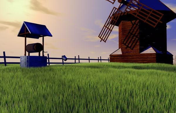 farm grass bucket c4d