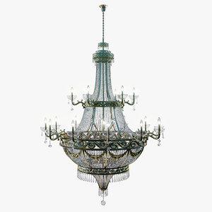 3d model ornate chandelier gold
