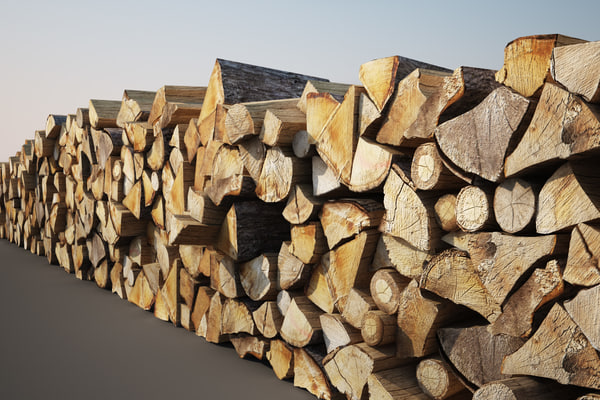 3d wooden logs pile wood model