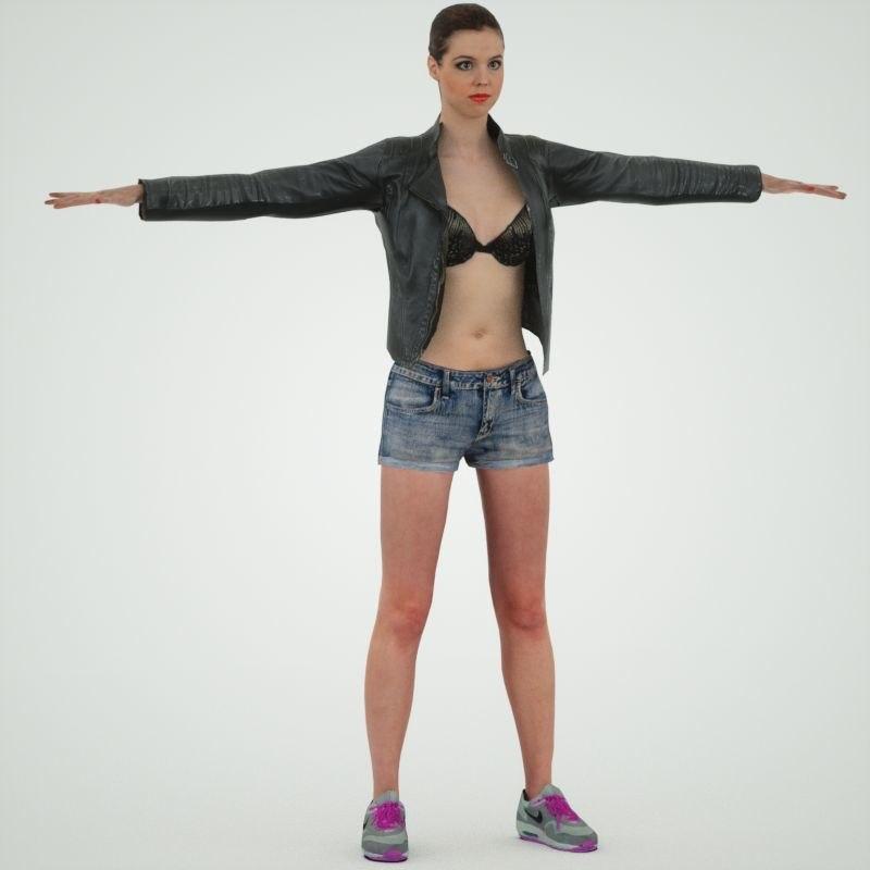 leather jacket girl 3d obj