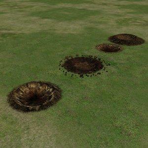 3d model of bomb craters