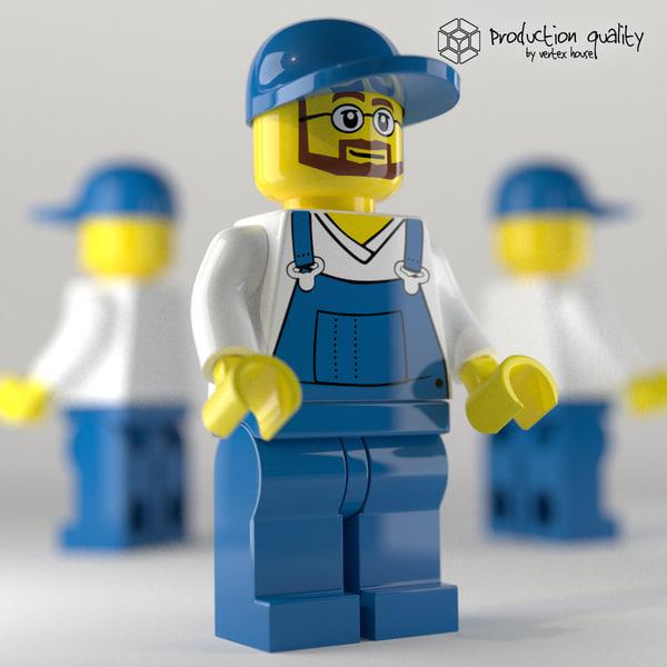 3d lego garbage crew model
