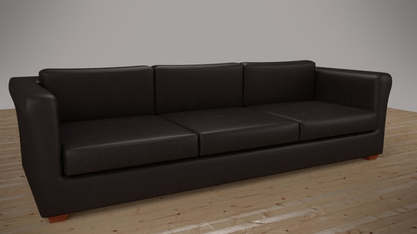 3d black leather sofa model