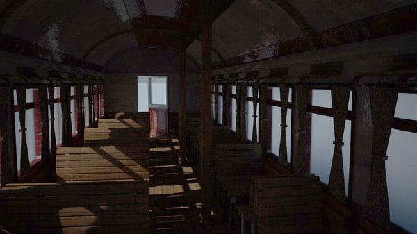 old train wagon c4d