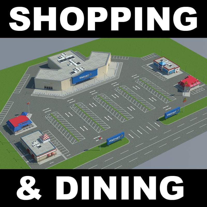 3d model shopping mcdonalds burgerking
