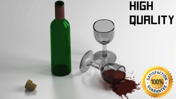free winebottle glass 3d model