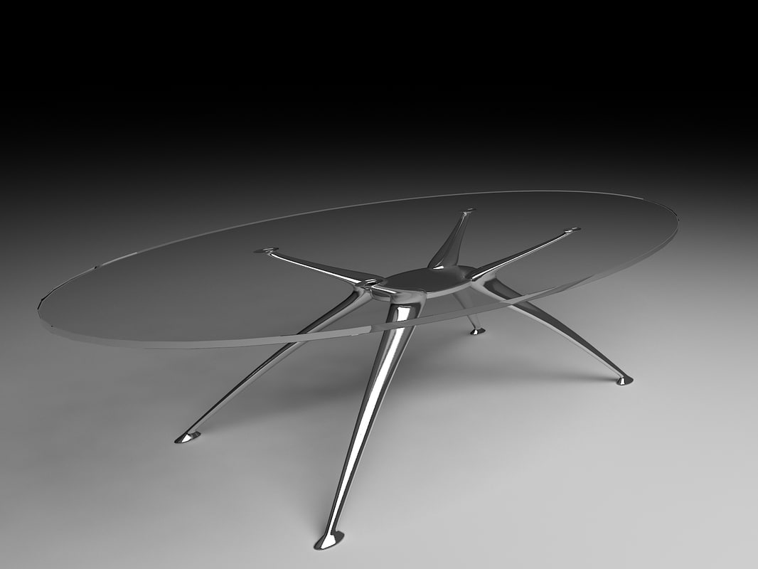 glass oval table 3d model