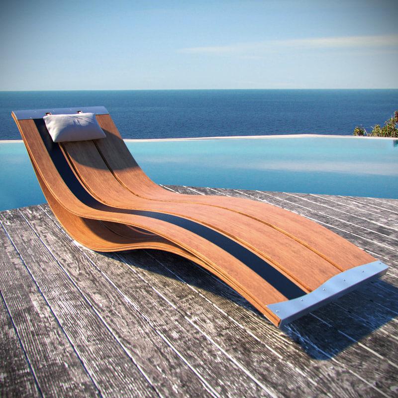 3d luxury sunbed model