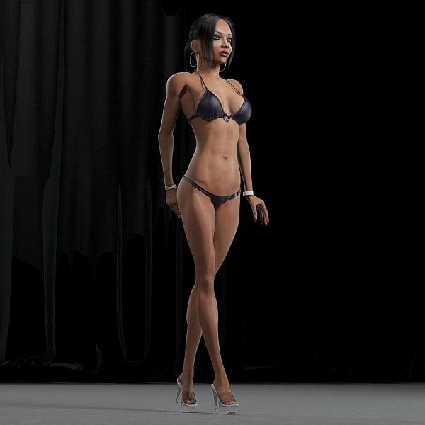 3d model fitness girl rigging female body