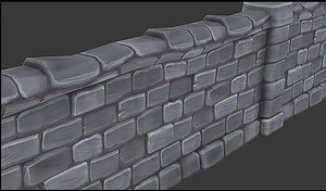 hand painted stone wall 3d max