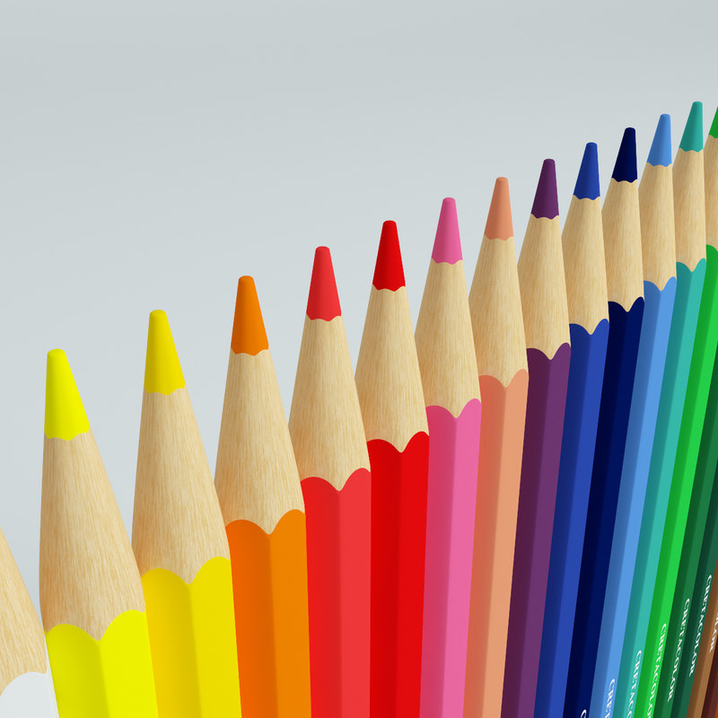 colored pencils set 3d model
