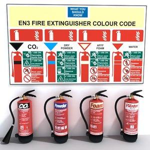 3d model set extinguishers