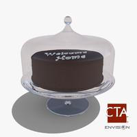 glass cake tray obj