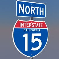 3D California Interstate 15 Signs