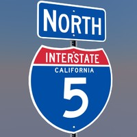 interstate 5 signs california 3d c4d