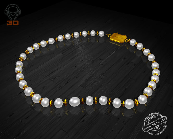3d pearl necklace model