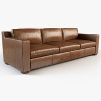 Restoration hardware - Collins leather sofa with nailheads