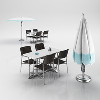 3d chairs table umbrella
